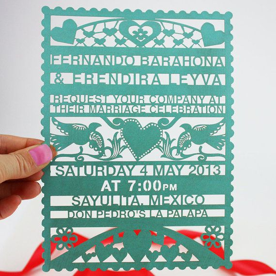 KatBlu lasercut Papel Picado wedding invitation.
