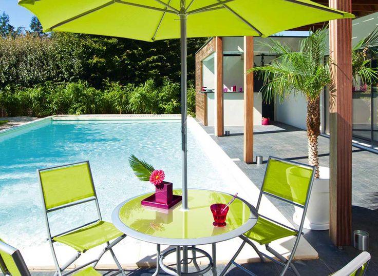 Salon de jardin Terrasse Ajaccio Vert Hespéride - Salon 4-5 places HESPERIDE