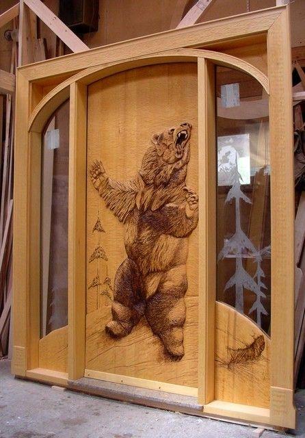 Doors and windows carved bear door wood pinterest for Rustic exterior doors