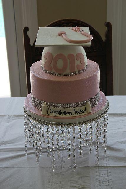 Pink glitter graduation cake