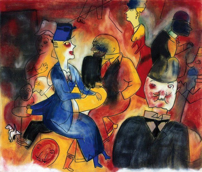 Snapple - Ahhh..., 2013, Pastel on velour paper, 46 x 55 cm. Based on George Grosz, Im Café, Private collection. Courtesy of Egbert Baqué Contemporary Art, Berlin.