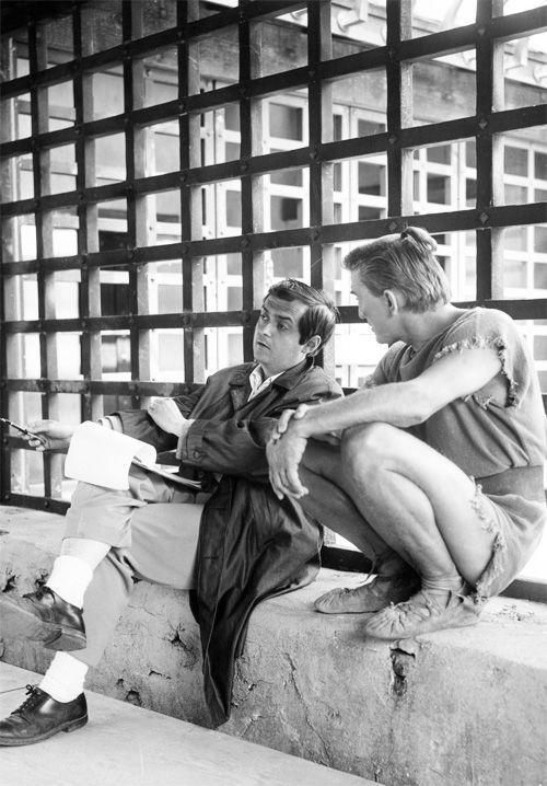 """Director Stanley Kubrick and Kirk Douglas on the set of """"Spartacus"""" 1960"""