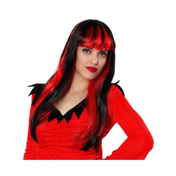 longue perruque noire et rouge - accessoire déguisement diablesse et vampire