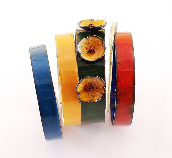 MEADOW IN SUMMER   enameled bangles by OYRZANOWSKA on Etsy