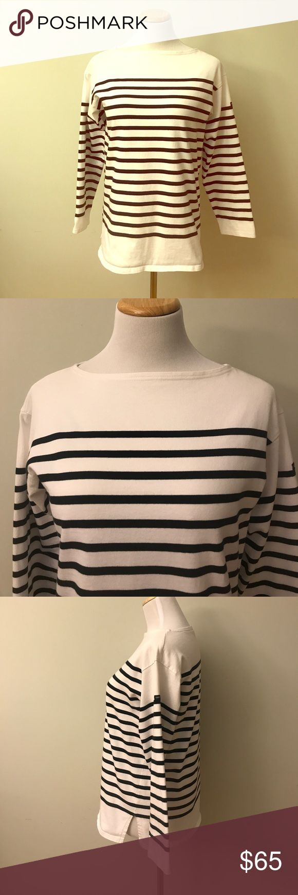 "Saint James Nautical Stripe Shirt Size M This Saint James Nautical Stripe shirt size M is in excellent pre-owned condition. It is a Breton Classics collection shirt. 100% cotton; Boat neckline; Armpit to armpit laying flat is 19""; it is 26"" long and sleeves are 19"". Made in France Saint James Tops Tees - Long Sleeve"