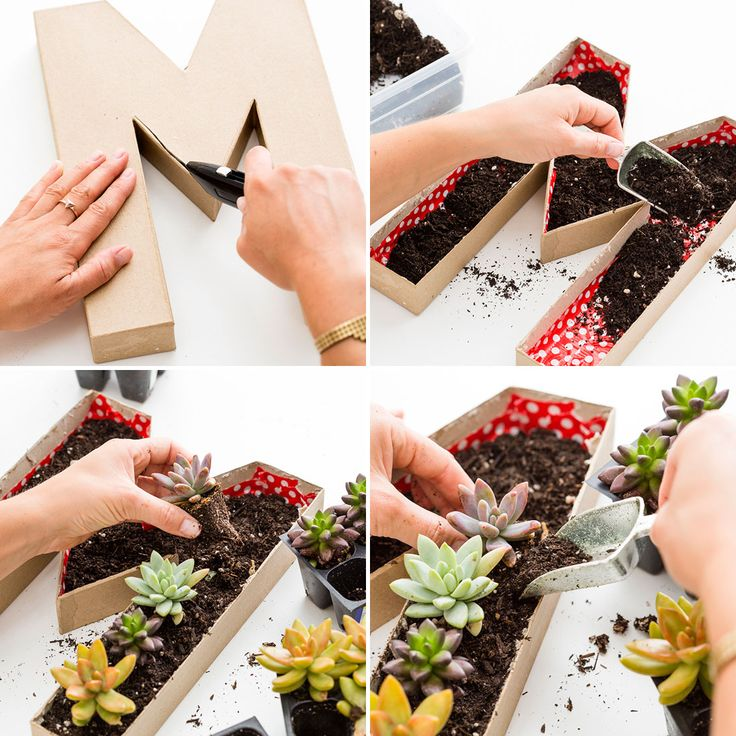 Use cardboard letters to make this Mother's Day planter.