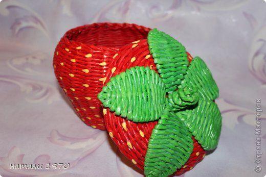 Мастер-класс Поделка изделие Плетение МК клубники Трубочки бумажные фото 1