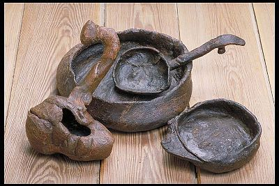 Viking age guksi / kåsa, ladle, spoon and bowl. All birch wood. Uppland.