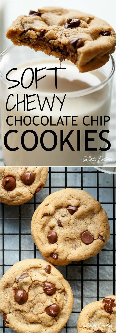 The best, Easy Soft Chewy Chocolate Chip Cookies with simple steps and ONE added ingredient for a soft and chewy experience in LESS THAN 15 minutes! | http://cafedelites.com