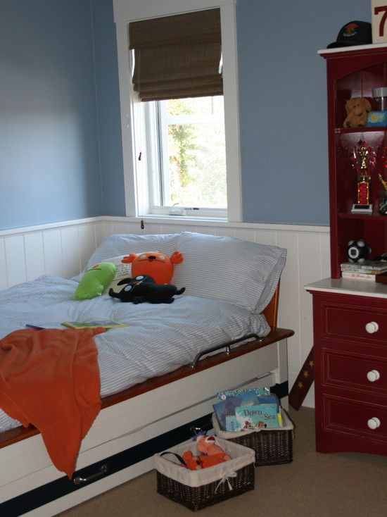 , Boys Bedroom Designs With Pale Cornflower Blue Wall Paint Color Also Cool White Single Bed Frame With Dresser Also Dark Brown Rattan Basket And White Beadboard Wall Accent Also Light Brown Carpet Color: How to Apply Boys Bedroom Designs