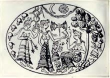 Mykene – Zeichnung nach einem goldenen Siegel aus Mykene: Eine Göttin sitzt am Fuße eines heiligen Baums, umgeben von Adoranten und heiligen Emblemen