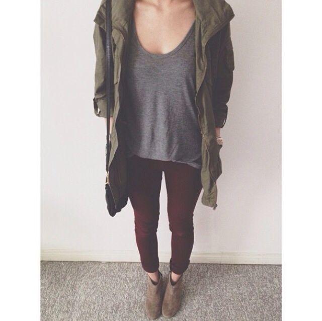 Simply Gray Shirt, Navy Green Jacket, Maroon Leggings & Tan Booties.