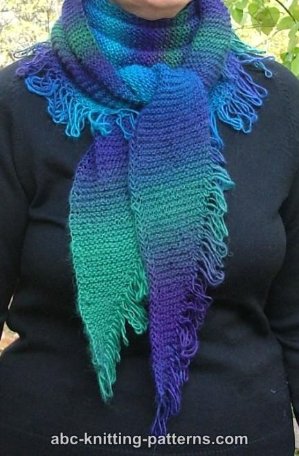 ABC Knitting Patterns - Small Garter Stitch Triangular Shawl with Unraveled Fringe (Baktus)