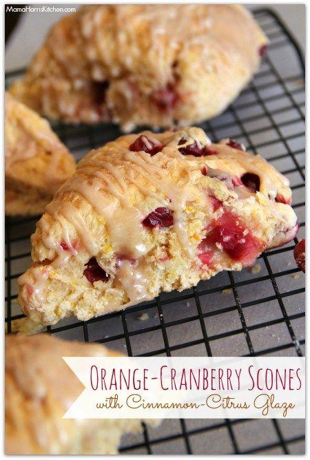 Orange-Cranberry Scones with Cinnamon-Citrus Glaze #drinkTEN - Mama Harris' Kitchen