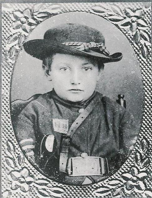 """""""The most famous of the dozens of young drummer boys was Johnny Clem of Newark, Ohio (1851-1937). He went to war at the age of ten. Clem made the army a career, and he retired in 1916 with the rank of major general. He is the youngest soldier ever to receive such that honor. He died in San Antonio, TX"""
