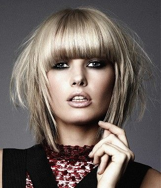 A medium blonde straight coloured multi-tonal choppy messy healthy sleek hairstyle by Gooseberry