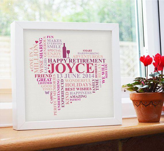 Framed Retirement print. Personalised retirement present. Unique word art gift. Retirement gift for women. Heart present.