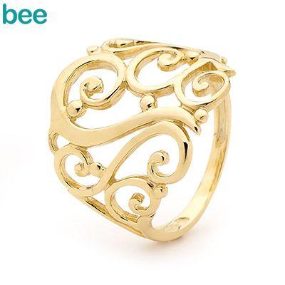 Bee Jewellery 41931 Decorative Gold Twirl Ring - B05