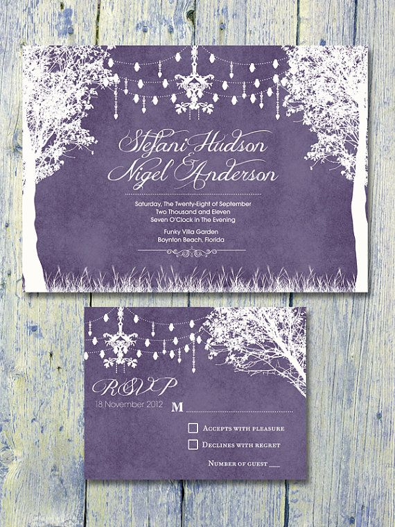 Printed Card - 40-75 Sets - Purple - In the Winter Garden Wedding Invitation and…