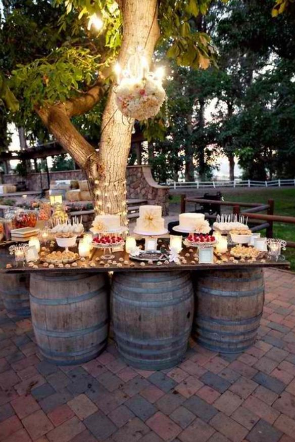 I would use this rustic idea for a candy/dessert station