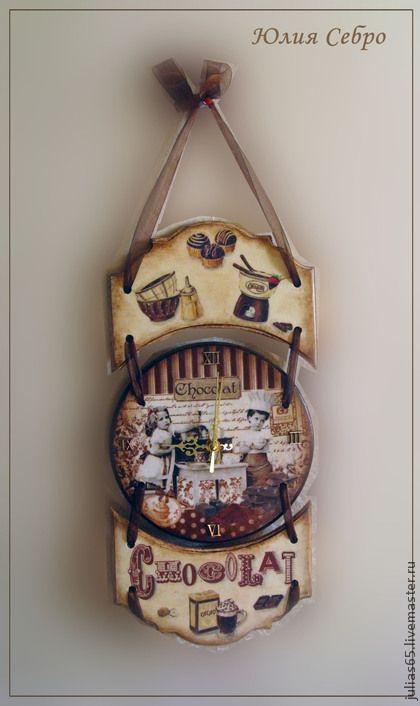 "Часы для дома ручной работы. Ярмарка Мастеров - ручная работа Часы настенные ""Горький шоколад"" (набор для кухни). Handmade."
