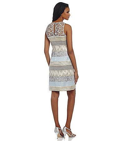 Kay Unger Brocade Jacquard And Lace Shift Dress Dillards