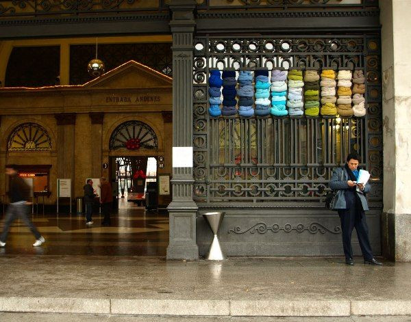 City textile installation in social art  with Textile installation city