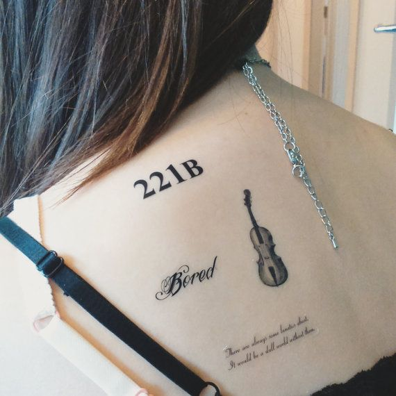 Pack of four decal temporary transfer tattoos inspired by Sherlock Holmes: Violin, Bored, 221B, Lunatics quote