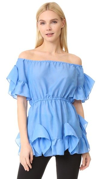 Azure Blue GOEN.J Frilled Top