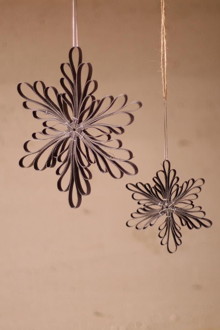 small grey wood veneer snowflake ornament