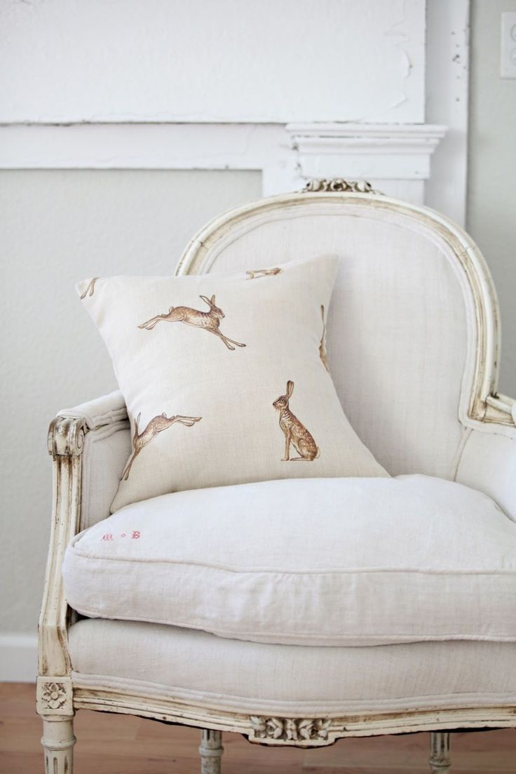 Classic White with Hare Pillow,subtle reminders of the Easter bunny are nice...LOVE the chair too <3