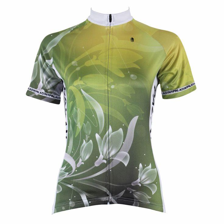 """Cycling Jersey Women """" Green Lily Flower """" Short Sleeve Bike Shirt Cycling Clothing Women Cycling Jersey X271"""