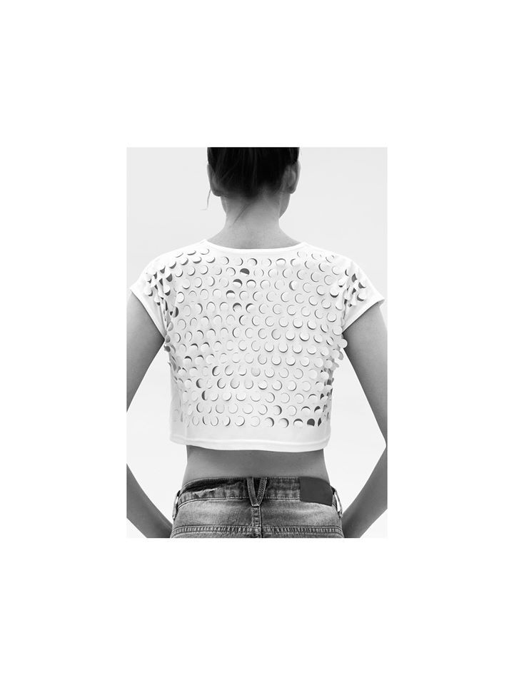 Backside circle grid pattern cropped tshirt   /  SS' 15 *available online* in our CUTCUUTUR site /made in greece / support greek design