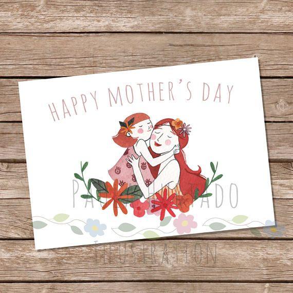 Happy Mothers Day Card Printable Illustrated  Ilustración para el día de la madre!