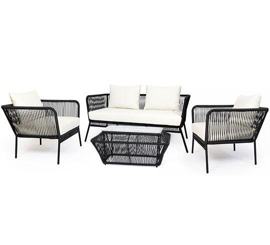 Ce salon de jardin fil noir Mexico 4 places et coussin ivoire apporte une touche d'originalité à votre terrasse. Très tendance, ce salon de jardin fil scoubidou noir est une déclinaison inspirée du c