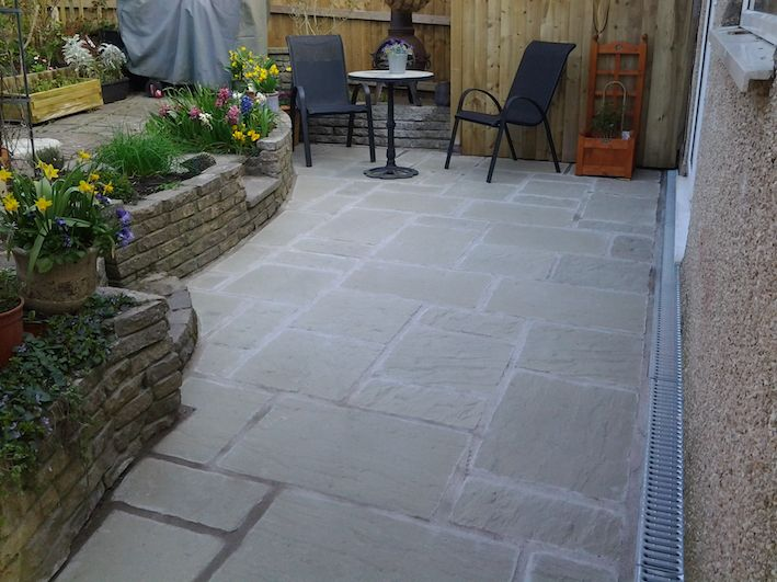 New Patio And Aco Drains Installed