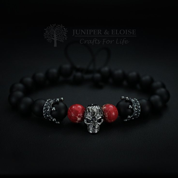 Skull Bracelet, Mens Bracelet, Womens Bracelet, Unisex Jewelry, Gunmetal Skull, Matte Bracelet,Crown Charm Bracelet, Valentines Day Gift by JuniperandEloise on Etsy