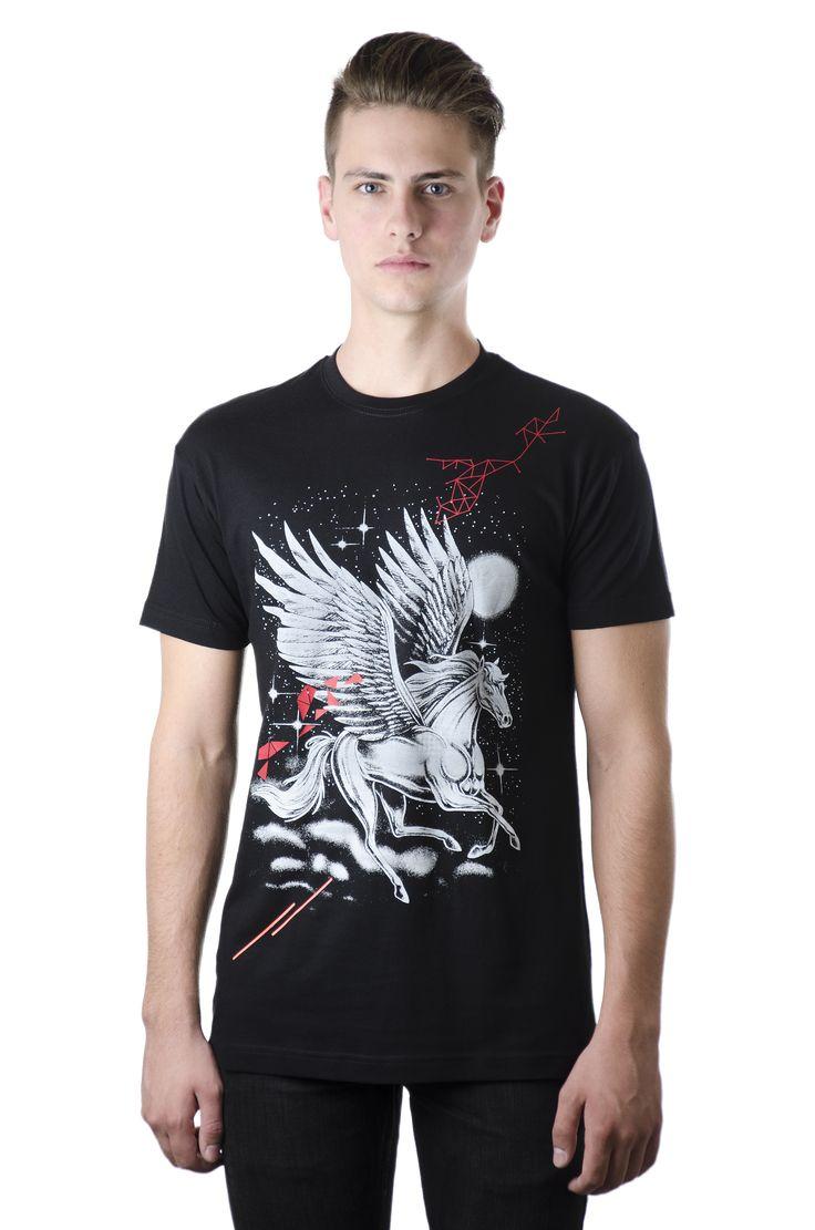 Unisex Black Tshirt / Design: Pegasus