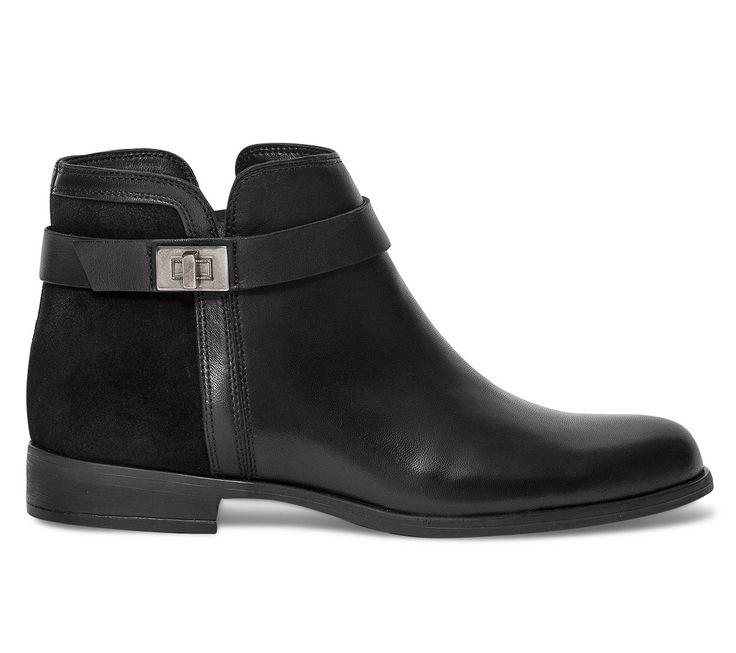 Boots boucle cuir noir