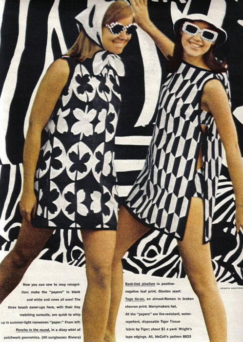 This editorial comes from a 1967 Seventeen magazine issue. The dresses the women are wearing give off the mod look that was popular in the time period. The geometric prints, along with the target pattern, were most popular.