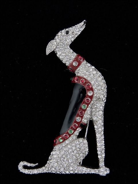 This lovely Greyhound Rhinestone Pin by Trifari, most likely 1940's-50's and designed by Alfred Phillipe (who had previously designed at Cartier and Van Cleef & Arpels) would achieve at auction near $1000 despite being 'costume' jewellery.