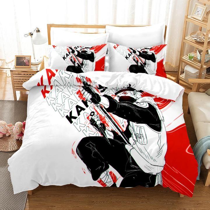 1 3d Japanese Anime Characters Red White Quilt Cover Set Bedding Set Duv Jessartdecoration White Quilt Cover Quilt Cover Sets Duvet Bedding Sets