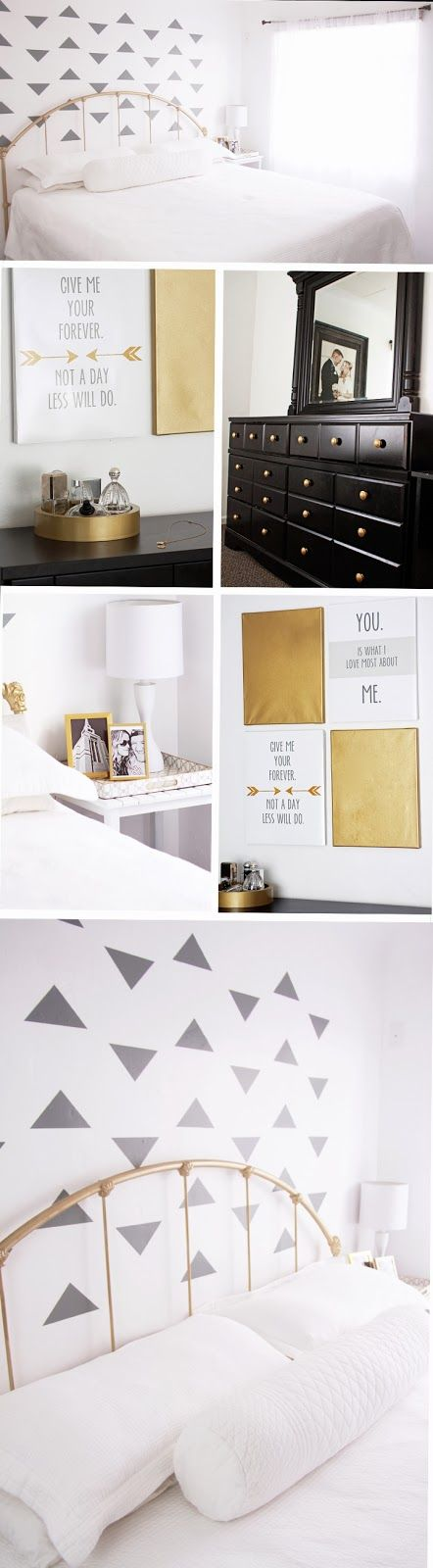 camie shill triangle wall grey triangles gold white black gold bed white bedroom black dresser