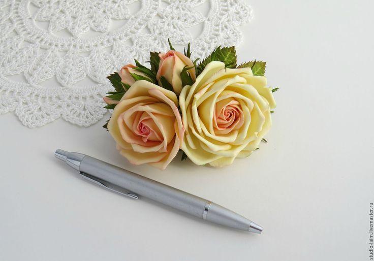 """Купить Заколка автомат с розами """"Реверанс"""" - заколки, заколка для волос цветы, красивые заколки"""