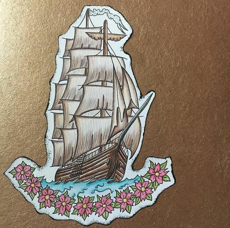 Traditional pirate ship tattoo design Designed by Abigail Baylis Instagram-@abigaillbaylis