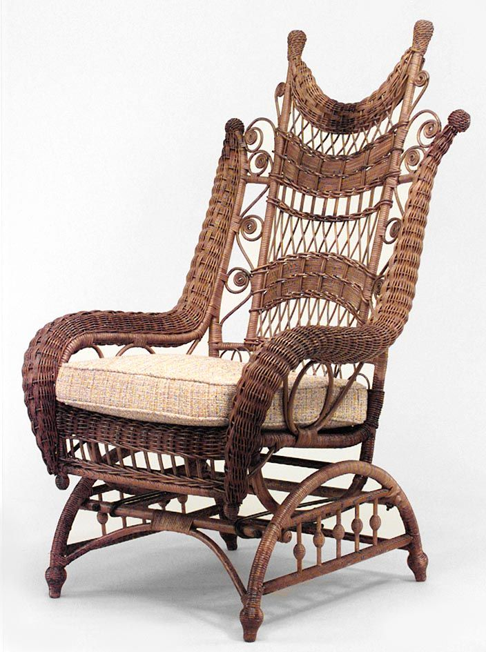 Victorian natural wicker ornate high back platform rocking chair