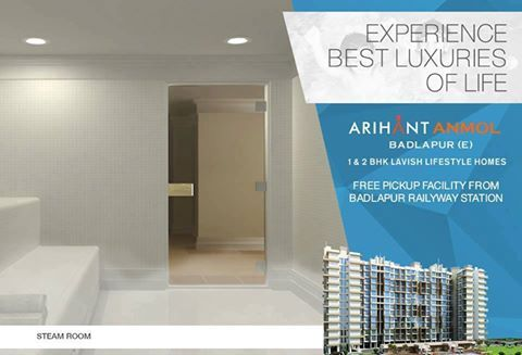 Arihant Anmol - Badlapur East 1 & 2 BHK Lavish Lifestyle Homes Steam Room http://www.asl.net.in/arihant-anmol.html #ArihantAnmol #RealEstate #Property #Badlapur #Mumbai