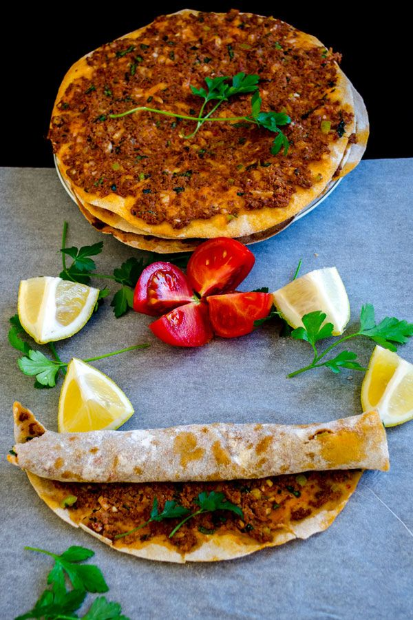Turkish paper thin pizza called lahmacun with whole wheat flour | giverecipe.com | #lahmacun #turkish #groundbeef