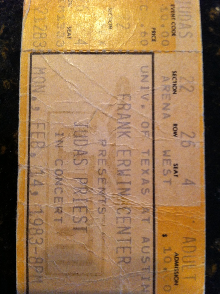 Ticket stub from the Judas Priest concert  on February 14th, 1983 at the Frank Erwin Center in Austin.  This was the 'Screaming for Vengeance Tour'.  Road-tripped from Texas A and exchanged words with a girl I had seen in the Texas Aggies cafeteria.  She would later become my wife.  And later still, my ex-wife.  #judaspriest