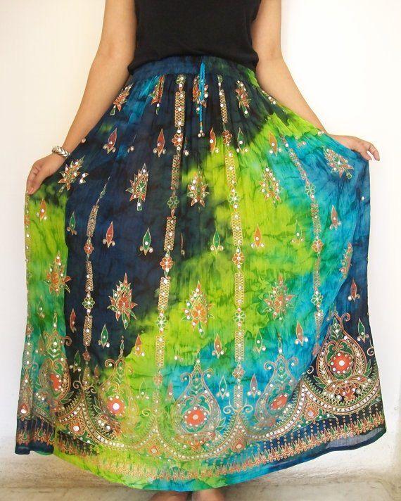 Indian Maxi Skirt, Gypsy Skirt, Bohemian Skirt, Long Skirt, Bollywood Skirt via Etsy